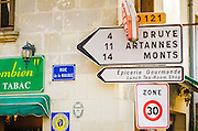 Street corner and sign, Villandry, France