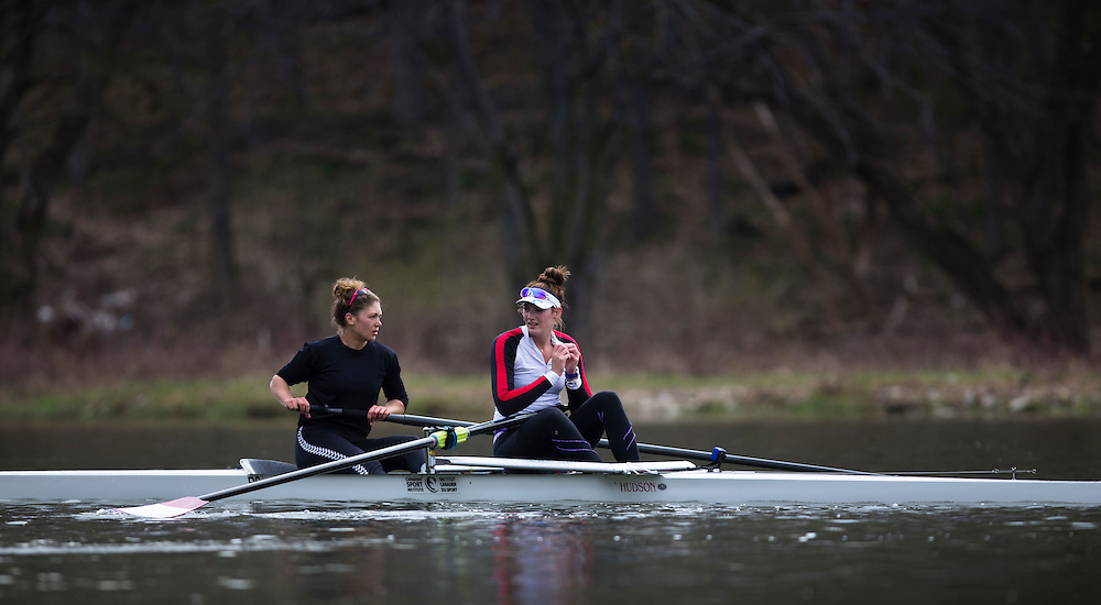 Rowers train at Lake Fanshawe in London, Ontario Canada on April 25th, 2016.