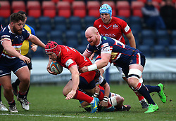 Nick Fenton-Wells of Bristol Rugby is tackled - Mandatory by-line: Robbie Stephenson/JMP - 13/01/2018 - RUGBY - Castle Park - Doncaster, England - Doncaster Knights v Bristol Rugby - B&I Cup