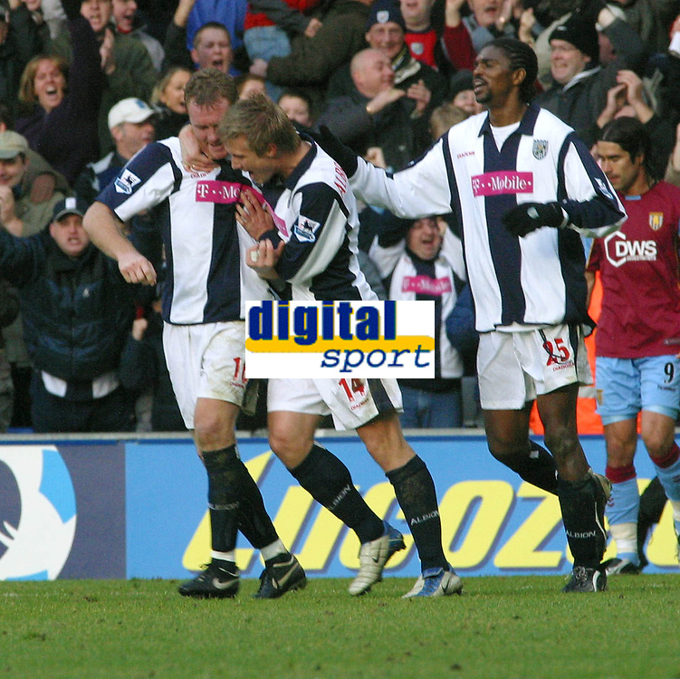 Photo: Dave Linney.<br />West Bromwich Albion v Aston Villa. The Barclays Premiership. 02/01/2006.West Brom's Steve Watson(L)  celebrates his goal with Martin Albrechtsen