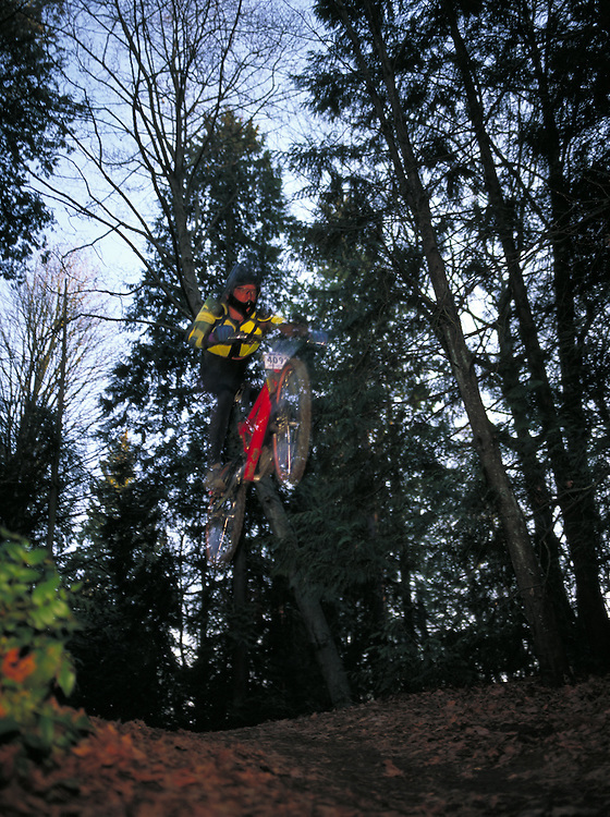 Rider catching air on BMX bike