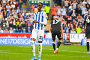 Adama Diakhaby of Huddersfield Town (11) reacts during the EFL Sky Bet Championship match between Huddersfield Town and Derby County at the John Smiths Stadium, Huddersfield, England on 5 August 2019.