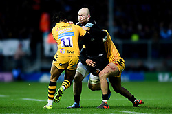Matt Kvesic of Exeter Chiefs is challenged by Marcus Watson of Wasps - Mandatory by-line: Ryan Hiscott/JMP - 30/11/2019 - RUGBY - Sandy Park - Exeter, England - Exeter Chiefs v Wasps - Gallagher Premiership Rugby