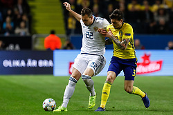 November 20, 2018 - Stockholm, Sweden - Victor Lindelof (R) of Sweden and Artem Dzyuba of Russia vie for the ball during the UEFA Nations League B Group 2 match between Sweden and Russia on November 20, 2018 at Friends Arena in Stockholm, Sweden. (Credit Image: © Mike Kireev/NurPhoto via ZUMA Press)