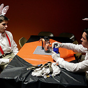 Juniors Jack Cooper, left, and Henry Cutting wait to be called as guides Sunday October 26, 2014 at Lyceum Academy's 'Twisted' in Wilmington, N.C. (Jason A. Frizzelle)