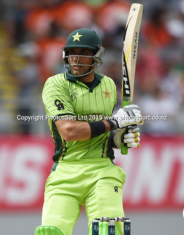 Misbah Ul Haq batting during the ICC Cricket World Cup 2015 match between South Africa and Pakistan at Eden Park, Auckland. Saturday 7 March 2015. Copyright Photo: Andrew Cornaga / www.Photosport.co.nz