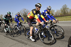 March 22, 2019 - Milan, Italie - MILANO, ITALY - MARCH 22 : BENNETT Sam (IRL) of BORA - HANSGROHE, GILBERT Philippe (BEL) of DECEUNINCK - QUICK - STEP, LAMPAERT Yves (BEL) of DECEUNINCK - QUICK - STEP, SABATINI Fabio (ITA) of DECEUNINCK - QUICK - STEP pictured during a training session a day prior to the UCI World Tour 110th Milan Sanremo cycling race with start in Milano and finish at the Via Roma in San Remo (291 kms) on March 22, 2019 in Milano, Italy, 22/03/2019 (Credit Image: © Panoramic via ZUMA Press)