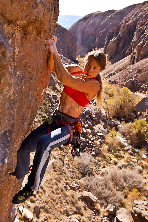 "Rock climber Lisa Rands leads the route ""Flux Capacitor"" rated 12c, in the Owens River Gorge,"