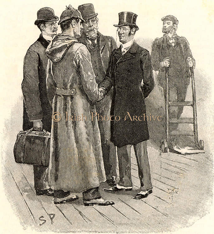 The Adventure of Silver Blaze'. Dr Watson, left, and Sherlock Holmes being greeted at Tavistock railway station by Inspector Gregory and Colonel Ross, right, owner of the missing racehorse Silver Blaze.   From 'The Adventures of Sherlock Holmes' by Conan Doyle from 'The Strand Magazine' (London, 1892). Illustration by Sidney E Paget, the first artist to draw Sherlock Holmes.  Engraving.