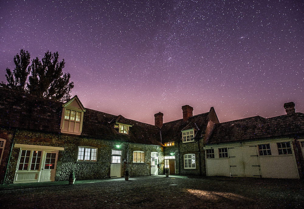Kiplin Hall Study Center under the starry night sky in North Yorkshire, UK.