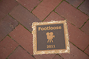Footloose movie plaque on the Walk of Fame May 8, 2013 in Senoia, Georgia. Senoia is considered the Hollywood of the South where 24 movies and shows have been filmed.