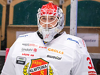 2019-12-14 | Umeå, Sweden: Almtuna (30) Daniel Rosengren in HockeyAllsvenskan during the game  between Björklöven and Almtuna at A3 Arena ( Photo by: Michael Lundström | Swe Press Photo )<br /> <br /> Keywords: Umeå, Hockey, HockeyAllsvenskan, A3 Arena, Björklöven, Almtuna, mlba191214