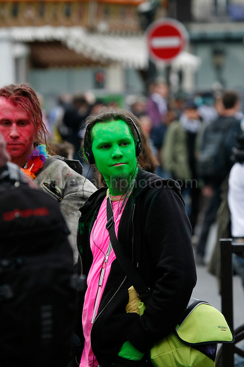 Green faced Anarchist protestor, May Day March, Paris, 1 May 2009