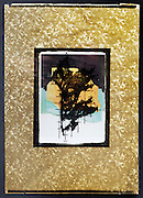 collage with leaf imprint and Goldklumpen by Sigmar Polke