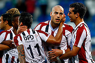 Onderwerp/Subject: Willem II - Jupiler League<br /> Reklame:  <br /> Club/Team/Country: <br /> Seizoen/Season: 2013/2014<br /> FOTO/PHOTO: Ruud BOYMANS (C) of Willem II celebrating his penalty goal with Ali MESSAOUD (R) of Willem II and Bruno ANDRADE ( Bruno Fernandes ANDRADE DE BRITO ) (L) of Willem II ( 1 - 0 ). (Photo by PICS UNITED)<br /> <br /> Trefwoorden/Keywords: <br /> #02 #04 $94 &plusmn;1372506528100<br /> Photo- &amp; Copyrights &copy; PICS UNITED <br /> P.O. Box 7164 - 5605 BE  EINDHOVEN (THE NETHERLANDS) <br /> Phone +31 (0)40 296 28 00 <br /> Fax +31 (0) 40 248 47 43 <br /> http://www.pics-united.com <br /> e-mail : sales@pics-united.com (If you would like to raise any issues regarding any aspects of products / service of PICS UNITED) or <br /> e-mail : sales@pics-united.com   <br /> <br /> ATTENTIE: <br /> Publicatie ook bij aanbieding door derden is slechts toegestaan na verkregen toestemming van Pics United. <br /> VOLLEDIGE NAAMSVERMELDING IS VERPLICHT! (&copy; PICS UNITED/Naam Fotograaf, zie veld 4 van de bestandsinfo 'credits') <br /> ATTENTION:  <br /> &copy; Pics United. Reproduction/publication of this photo by any parties is only permitted after authorisation is sought and obtained from  PICS UNITED- THE NETHERLANDS