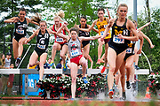 Michigan's Claire Borchers leads the field in the 3000m steeplechase at the Big Ten outdoor track & field championships in Bloomington, Ind., Saturday, May 12, 2018. Borchers won the race. (AJ Mast for Rutgers)