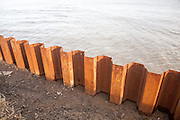 Steel sheet piling constructed as a coastal defence against rapid erosion at East Lane, Bawdsey, Suffolk, England, UK