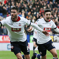 Bolton Wanderers Gary Madine celebrates scoring the first goal during the Sky Bet Championship match between Bolton Wanderers v Blackburn Rovers played at the Macron Stadium on December 28th 2015