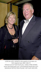 LORD & LADY HESKETH at a party in London on 12th September 2001.OSE 71