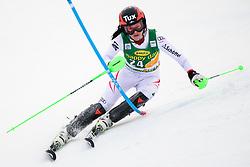 January 7, 2018 - Kranjska Gora, Gorenjska, Slovenia - Stephanie Brunner of Austria competes on course during the Slalom race at the 54th Golden Fox FIS World Cup in Kranjska Gora, Slovenia on January 7, 2018. (Credit Image: © Rok Rakun/Pacific Press via ZUMA Wire)