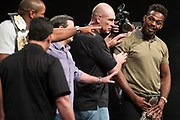 DALLAS, TX - MAY 12:  Jon Jones (right) exchanges words with Daniel Cormier during the UFC Summer Kickoff Press Conference at the American Airlines Center on May 12, 2017 in Dallas, Texas. (Photo by Cooper Neill/Zuffa LLC/Zuffa LLC via Getty Images) ***Local Caption***  Jon Jones; Daniel Cormier