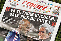 Fotball<br /> VM 2010<br /> Frankrike<br /> Foto: Dppi/Digitalsport<br /> NORWAY ONLY<br /> <br /> FOOTBALL - MISCS - FIFA WORLD CUP 2010 - ANELKA AFFAIR - COVER OF FRENCH DAILY NEWSPAPER L'EQUIPE - 19/06/2010