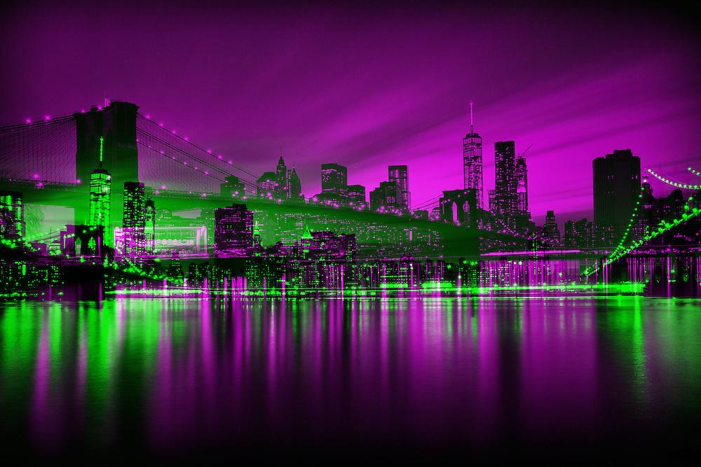 New York Abstrakt: Doppelbelichtung Skyline und Brooklyn Bridge