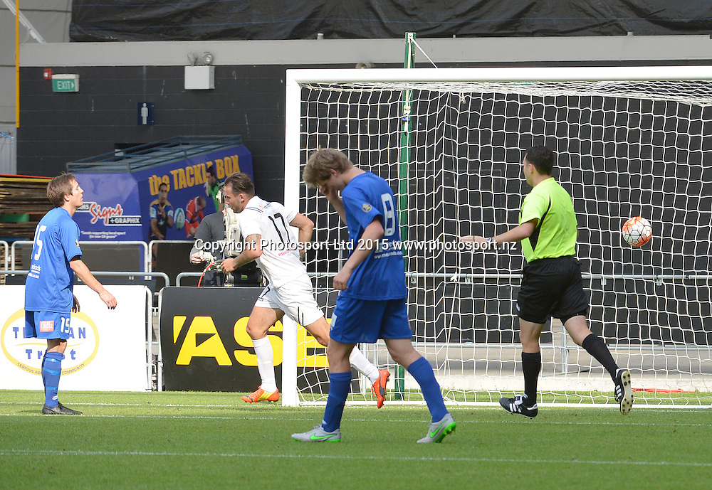 ASB Premiership, Southern United v WaiBOP United at the Forsyth Barr Stadium, Dunedin, 6th December 2015.<br /> Pictured Steve Hoyle of WaiBOP scores the second goal of the match as Tom Connor (left) of Southern United watches and Andrew Ridden holds his head. Referee Nic Waldon calls it.<br /> WaiBop won the game 2:1.<br /> <br /> <br /> Copyright photo: Jane Dawber / www.photosport.nz