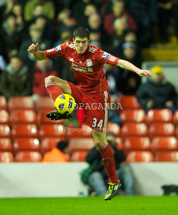 LIVERPOOL, ENGLAND - Wednesday, January 26, 2011: Liverpool's Martin Kelly in action against Liverpool during the Premiership match at Anfield. (Photo by: David Rawcliffe/Propaganda)