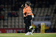 Fi Morris and Paige Scholfield of Southern Vipers celebrate the wicket of Holly Armitage during the Women's Cricket Super League match between Southern Vipers and Yorkshire Diamonds at the Ageas Bowl, Southampton, United Kingdom on 21 August 2019.