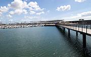 Yachts at moorings and new buildings marina area of Arrecife, Lanzarote, Canary Islands, Spain