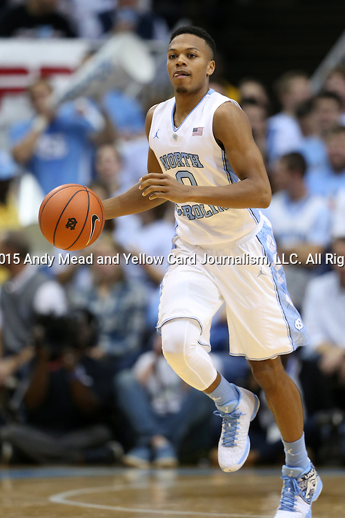 01 December 2015: North Carolina's Nate Britt. The University of North Carolina Tar Heels hosted the University of Maryland Terrapins at the Dean E. Smith Center in Chapel Hill, North Carolina in a 2015-16 NCAA Division I Men's Basketball game. UNC won the game 89-81.