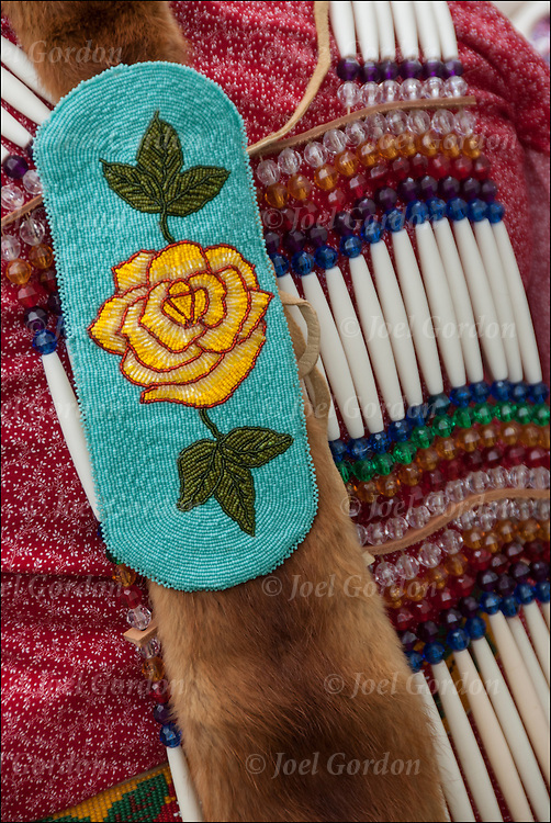 Close up of Native American Pow Wow Regalia. Example of ethnic pride, heritage and traditional folk art crafts bead work.