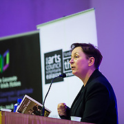 06.10.2016       <br /> The inaugural Laureate for Irish Fiction and Man Booker Prize winning author Anne Enright pictured read from some of her work before delivering a lecture on Irish writer Maeve Brennan at the Kemmy Business School in University of Limerick. <br /> <br /> Ms Enright was introduced by UL's Writer in Residence, Donal Ryan. The Green Road author had earlier met with students on UL's creative writing programme, which is chaired by Professor Joseph O'Connor. Picture: Alan Place