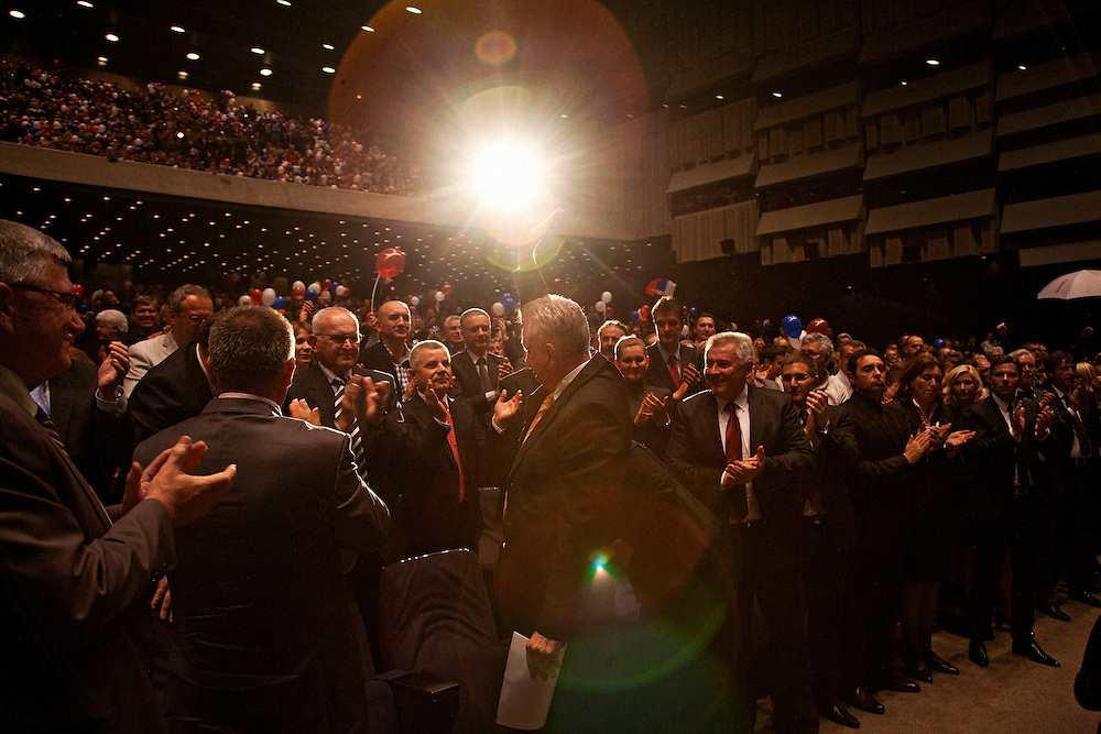 Tomislav Nikolic waves to the crowd at the Serbian Progressive Party (SNS) congress at Sava Center in Belgrade, Serbia. May 15, 2012...Matt Lutton for The Wall Street Journal.BELGRADE