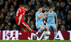 11.01.2012, Etihad Stadion, Manchester, ENG, Carling Cup, Manchester City vs FC Liverpool, Halbfinale, im Bild Liverpool's captain Steven Gerrard in action against Manchester City during the football match of English Carling Cup, Halffinal, between Manchester City and FC Liverpool at Etihad Stadium, Manchester, United Kingdom on 2012/01/11. EXPA Pictures © 2012, PhotoCredit: EXPA/ Propagandaphoto/ David Rawcliff..***** ATTENTION - OUT OF ENG, GBR, UK *****