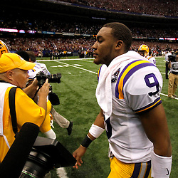 Jan 9, 2012; New Orleans, LA, USA; LSU Tigers quarterback Jordan Jefferson (9) walks off the field after the 2012 BCS National Championship game against the Alabama Crimson Tide at the Mercedes-Benz Superdome. Alabama won 21-0.  Mandatory Credit: Derick E. Hingle-US PRESSWIRE