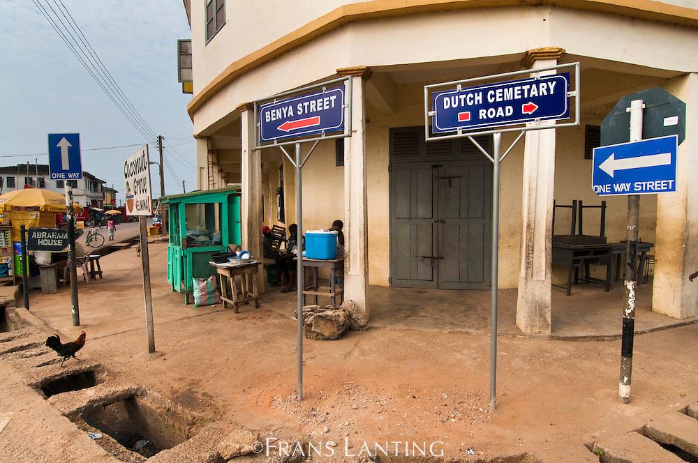 Road sign for Dutch cemetary, Elmina, Ghana