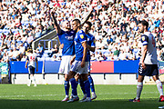 Ipswich Town midfielder James Norwood celebrate his goal with team-mates during the EFL Sky Bet League 1 match between Bolton Wanderers and Ipswich Town at the University of  Bolton Stadium, Bolton, England on 24 August 2019.