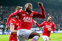 ALKMAAR - 20-02-2016, AZ - FC Groningen, AFAS Stadion, 4-1, AZ speler Ridgeciano Haps juicht na zijn doelpunt, 3-0, AZ speler Alireza Jahanbakhsh.