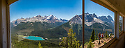 Wapta Lake, seen from Paget Peak Lookout in Yoho National Park, British Columbia, Canada. A glacier tops Mount Victoria North Peak. On the right is Cathedral Mountain. This image was stitched from multiple overlapping photos.