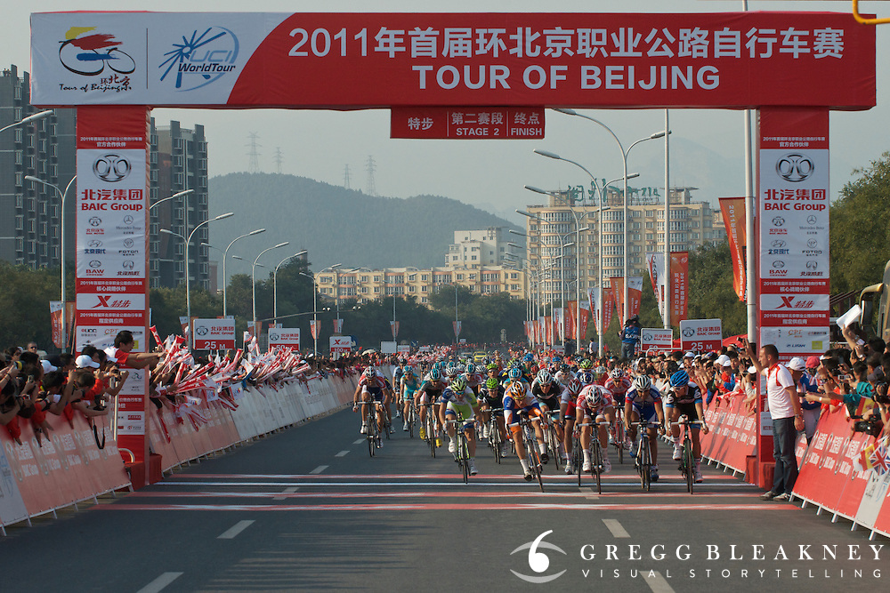 Heinrich Haussler (R) just inches out Denis Galimzyanov (Kathusha) and Theo Bos of Rabobank for the stage win. 2011 Tour of Beijing Stage 2