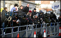 The Press outside the King Edward VII Private wait for Prince William, Duke of Cambridge to arrives at the King Edward VII Private Hospital on December 4, 2012 in London, England. Catherine, Duchess of Cambridge spent her first night in the hospital after yesterday's announement of her pregnancy and the fact she was suffering from hyperemesis gravidarum or acute morning sickness.. Photo By Andrew Parsons / i-Images