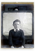 portrait of young boy 1930s glass plate