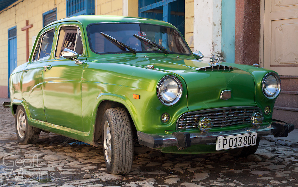 1956 vintage Austin A40 Cambridge, one of many elderly British cars still surviving in Cuba's streets