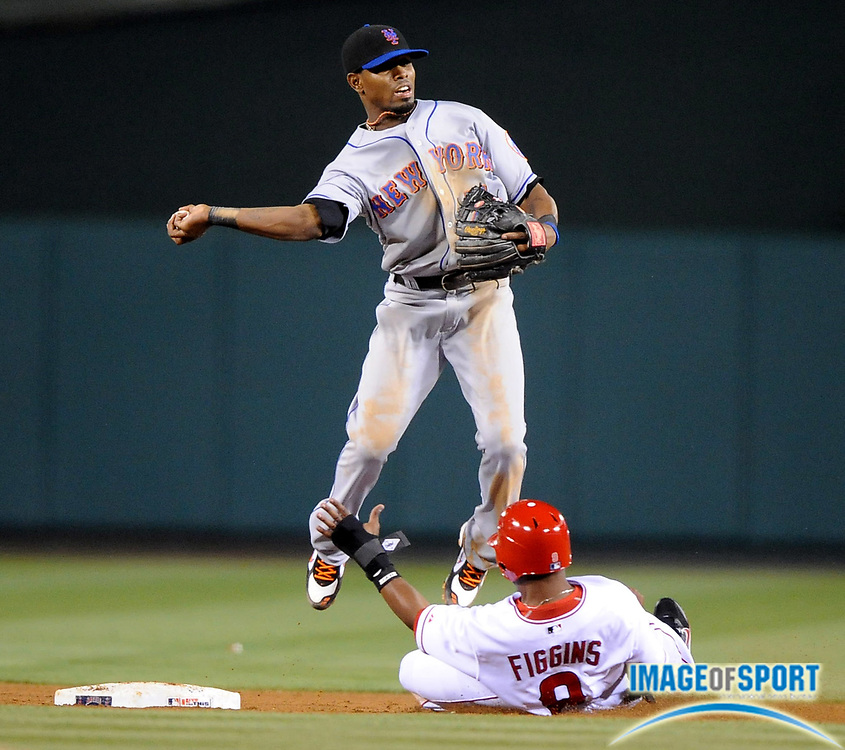 Jun 16, 2008; Anaheim, CA, USA; Los Angeles Angels third baseman Chone Figgins (9) is forced out at second base by New York Mets second baseman Luis Castillo (1) at Angel Stadium. The Mets defeated the Angels 9-6. Mandatory Credit: Kirby Lee/Image of Sport-US PRESSWIRE