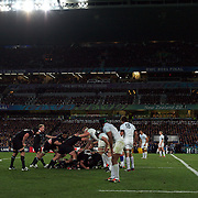 The All Blacks run the clock down to win the World Cup during the New Zealand V France Final at the IRB Rugby World Cup tournament, Eden Park, Auckland, New Zealand. 23rd October 2011. Photo Tim Clayton...