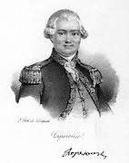 Jean Francois de Galaup, Comte de La Perouse (1741-1788) French navigator and explorer spent 4 years (1785-1788) exploring the islands in the Pacific Ocean, China and Japan, Hawaii, Australia and the Western Coast of North America.  Engraving c1830.