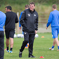 St Johnstone manager Tommy Wright pictured in training this morning....22.08.14<br /> Picture by Graeme Hart.<br /> Copyright Perthshire Picture Agency<br /> Tel: 01738 623350  Mobile: 07990 594431
