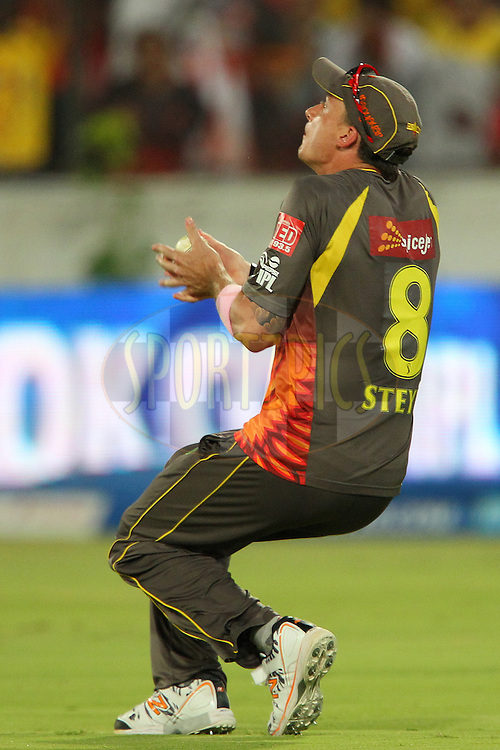 Dale Steyn drops the catch that would have dismissed MS Dhoni during match 54 of the Pepsi Indian Premier League between The Sunrisers Hyderabad and Chennai Superkings held at the Rajiv Gandhi International  Stadium, Hyderabad  on the 8th May 2013..Photo by Ron Gaunt-IPL-SPORTZPICS ..Use of this image is subject to the terms and conditions as outlined by the BCCI. These terms can be found by following this link:..http://www.sportzpics.co.za/image/I0000SoRagM2cIEc